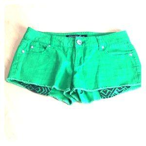 Green Celebrity Pink Cut Off Jean Shorts